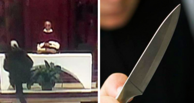 Sujeto irrumpe en iglesia y acuchilla a sacerdote mientras oficiaba misa
