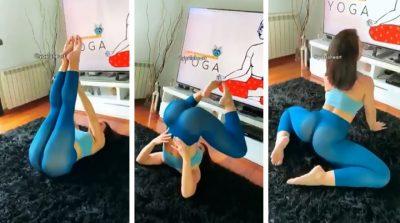 Viralizan a maestra de yoga por transparentar todo en ardientes posiciones