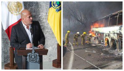 Alfaro agradece a protección civil por atender incendio de autobús en Jalisco