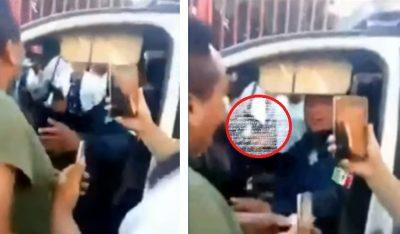 Policía en estado de ebriedad golpea y amenaza con pistola a sujeto que lo encaró