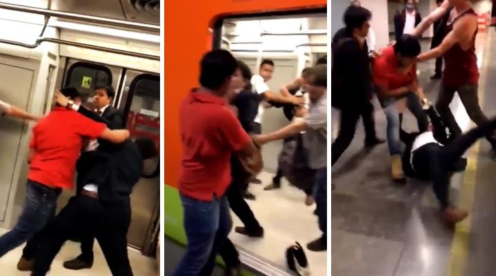 Graban a Godínez agarrándose a golpes con 2 sujetos en el vagón del Metro