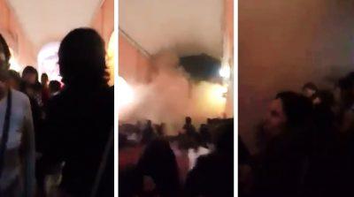 Graban momento en que colapsa el techo de una iglesia en plena celebración