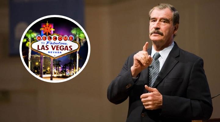 5a533d920 Captan a Vicente Fox echando panza y con pijama en Las Vegas