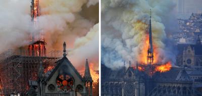 Mira las impactantes imágenes del incendio de Notre Dame captadas por un dron