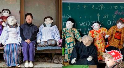 Mujer hace muñecos de tela para 'repoblar' un pueblo en Japón