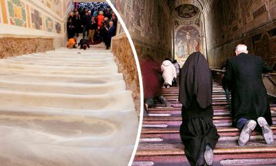 Exhiben escalera de mármol por la que subió Jesús para enfrentar su juicio
