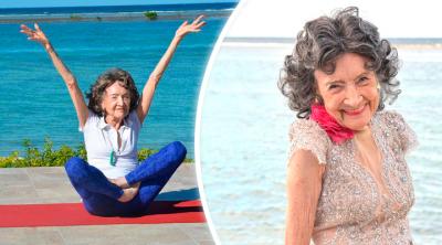 Profesora asombra al mundo por dar clases de yoga a sus 100 años