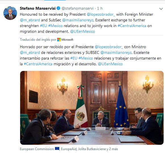 Así fue la reunión entre AMLO y el representante de la Comisión Europea