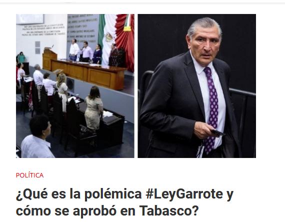 AMLO Ley Garrote