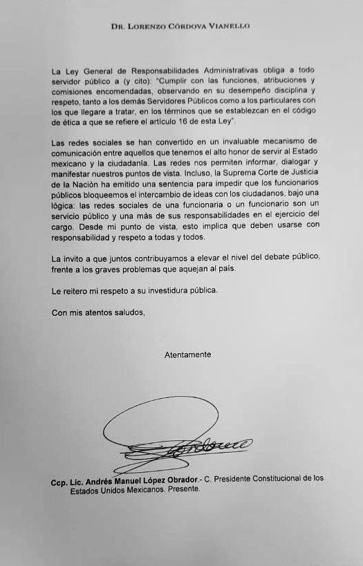 Lorenzo Córdova responde a Eréndira Sandoval; rechaza censura en el INE