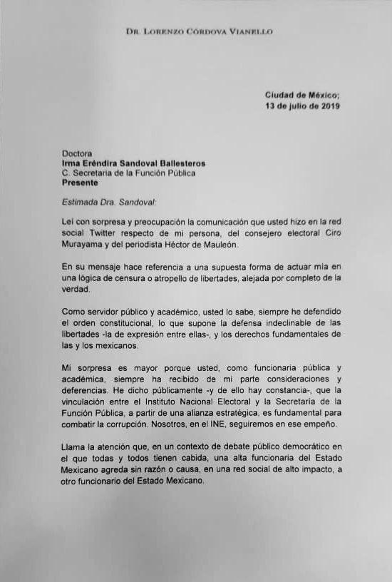 Eréndira Sandoval INE Lorenzo Córdova