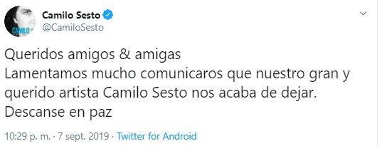 Fallece el cantante español Camilo Sesto a los 72 años de edad