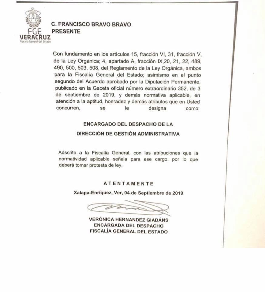 Francisco Bravo, señalado por corrupción, se une a Fiscalía General de Veracruz