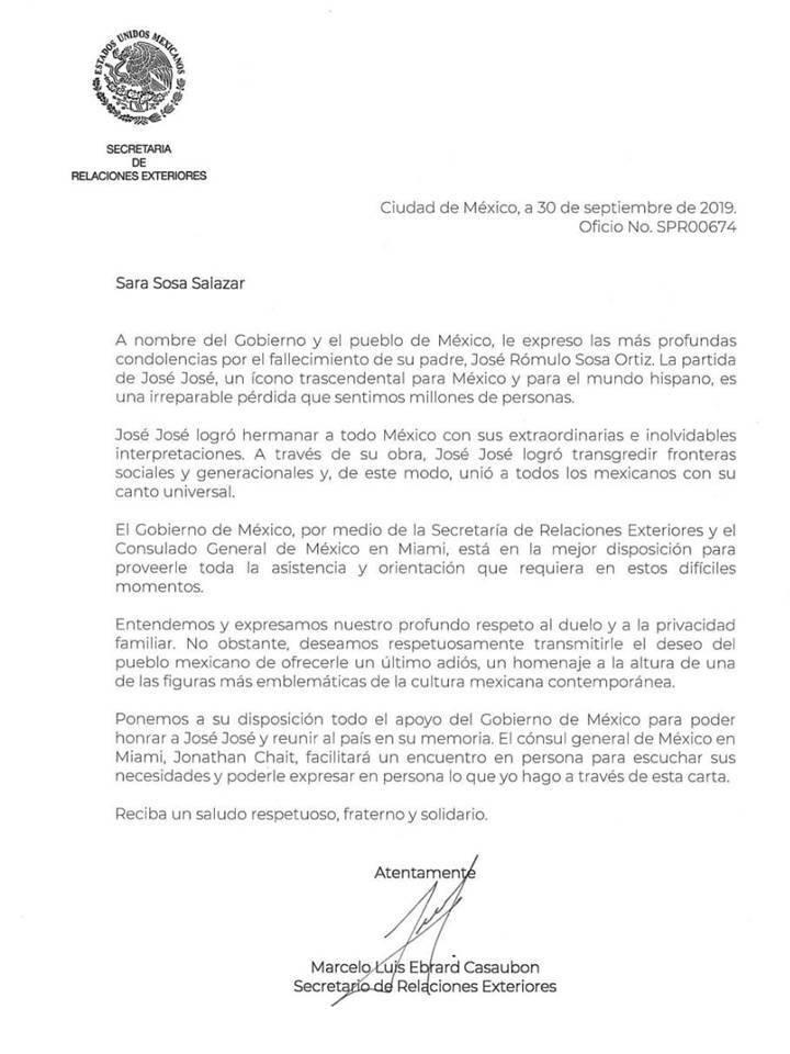 Revelan carta que Ebrard envió a Sarita para traer restos de José José a México