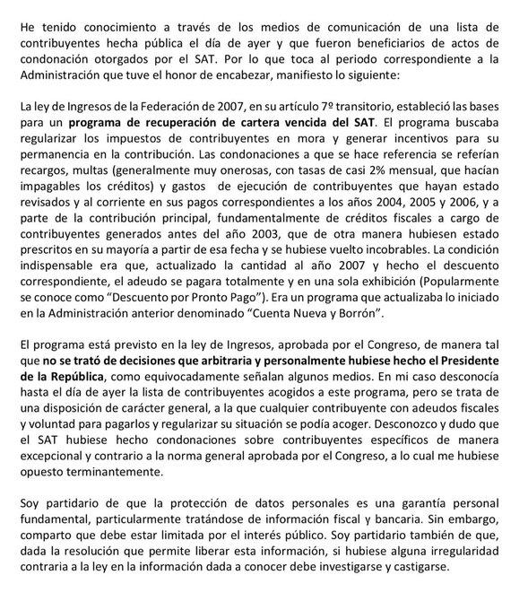 Calderón culpa a Congreso por condonación de impuestos en su sexenio Calderón culpa a Congreso por condonación de impuestos en su sexenio