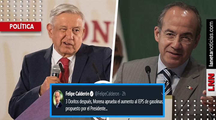 '3 Doritos después': Calderón se burla de AMLO por aumento del IEPS al combustible