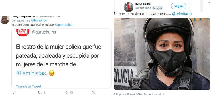 Revelan verdad detrás de la foto de mujer policía llorando en marcha