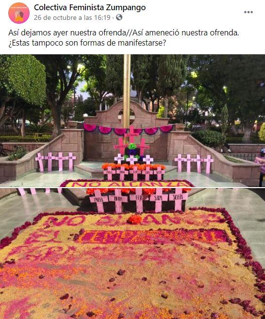 Perritos que destruyeron ofrenda feminista