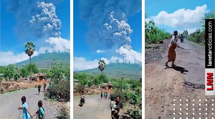 Graban volcán de Indonesia que entra en erupción y gente sale corriendo